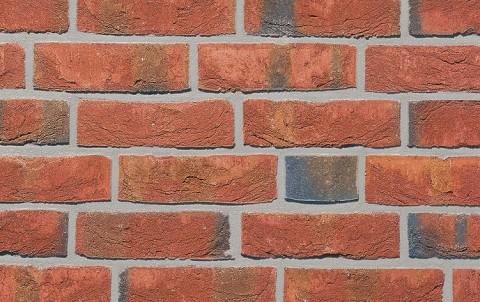 Фасадная плитка ручной формовки ROBEN WASSERSTRICH  hellrot bunt, NF рядовая
