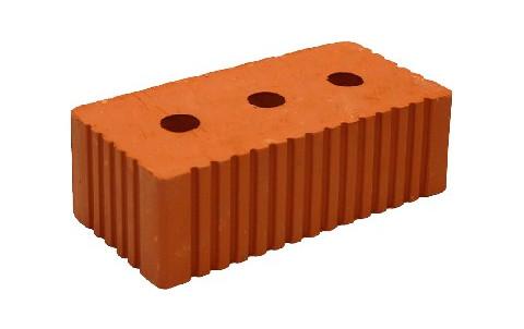 Кирпич полнотелый утолщенный 1,4 НФ рифленый с 3-мя технологическими отверстиями М-200