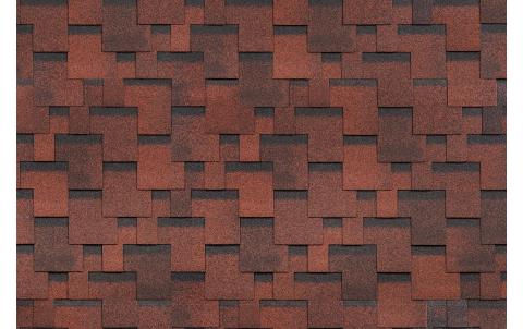 Гибкая черепица SHINGLAS, Финская, Аккорд Красный, 3 кв.м
