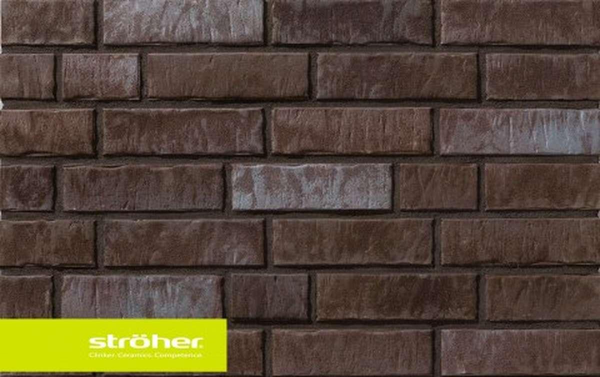 фасадная клинкерная плитка STROEHER kohlenglanz, размер  240x71x14