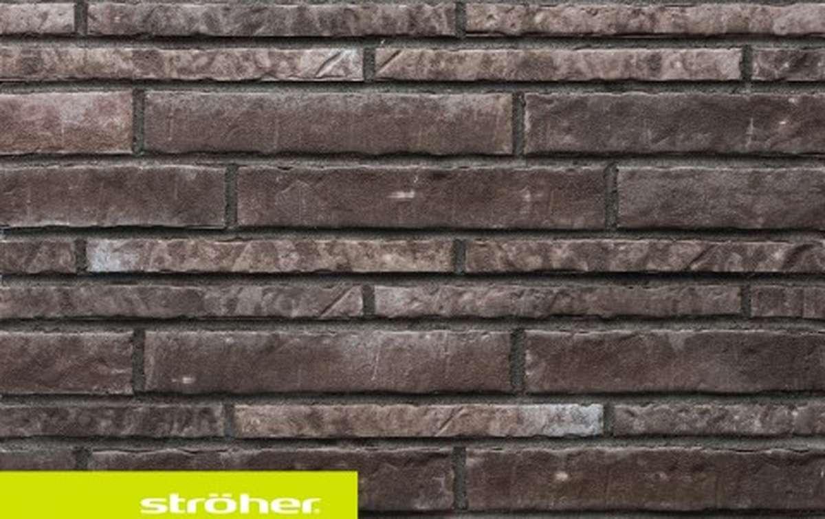 фасадная клинкерная плитка STROEHER kohlenglanz, размер  400x71x14