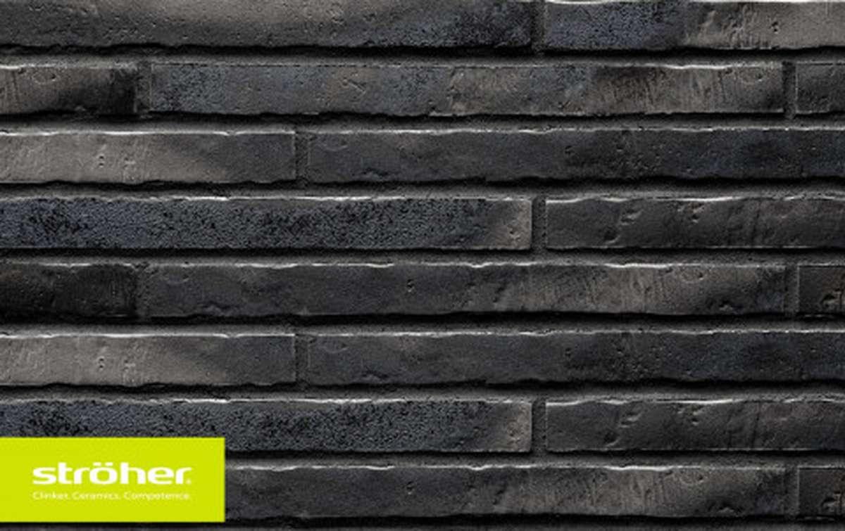 фасадная клинкерная плитка STROEHER silber-schwarz, размер 490x40x14