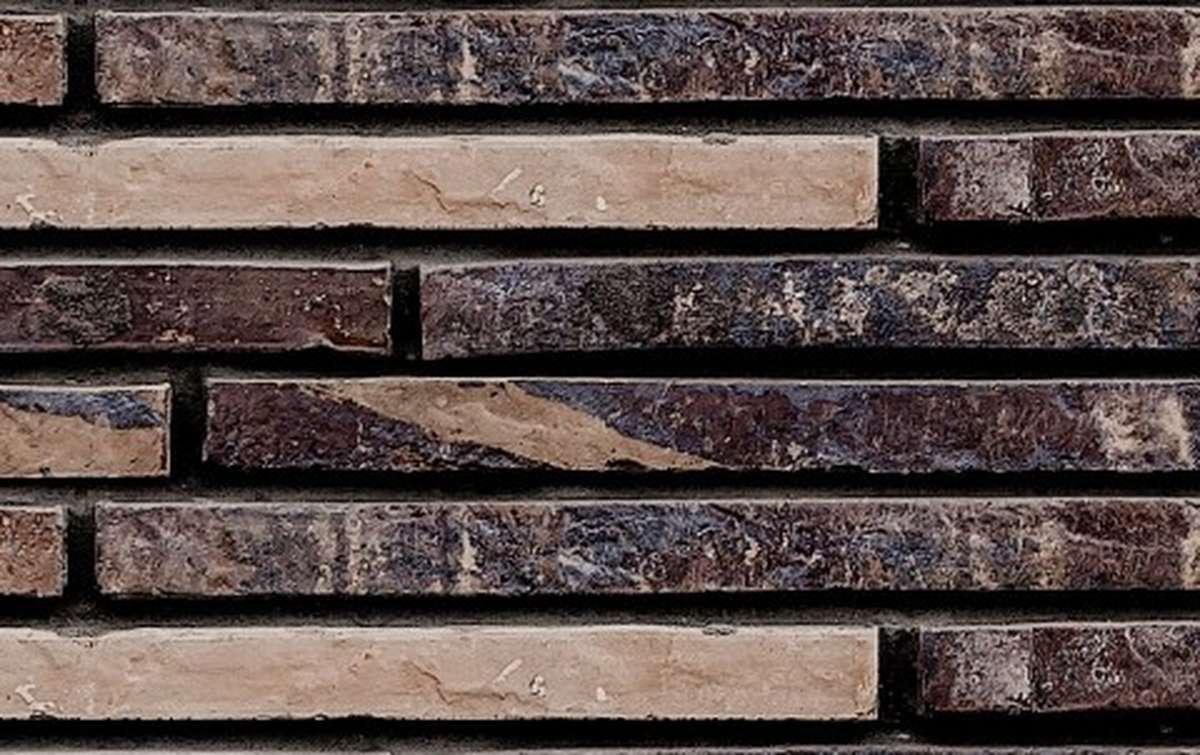 фасадная плитка ригельформат БКЗ, Полтава, пестрый микс, 515x100x38