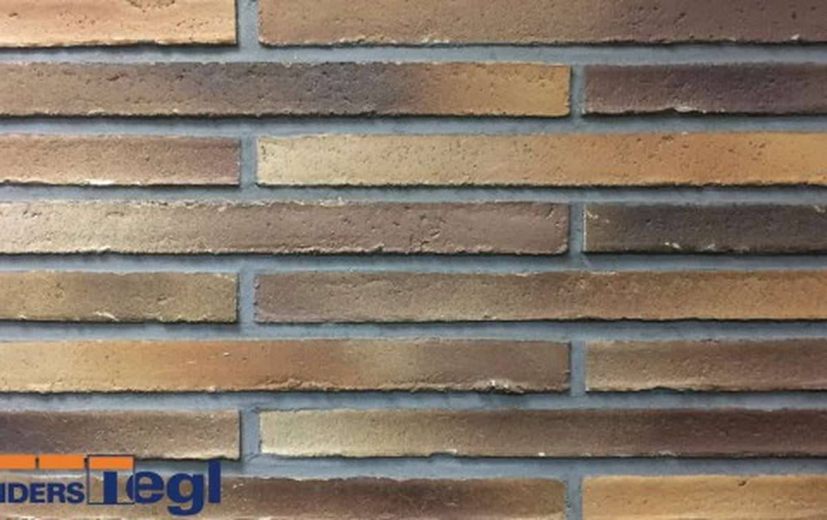 Кирпич ригель формата Randers Tegl коричневый пестрый 468x108x38